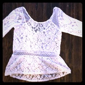 New Lace Peplum Hollister XS 3/4 Sleeve White